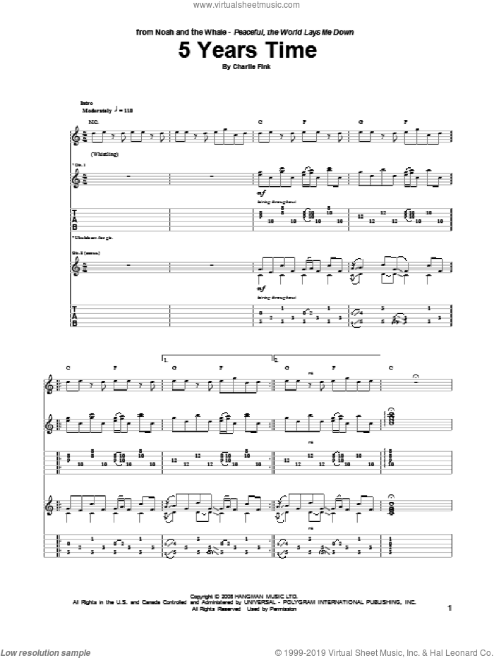 5 Years Time sheet music for guitar (tablature) by Charlie Fink. Score Image Preview.