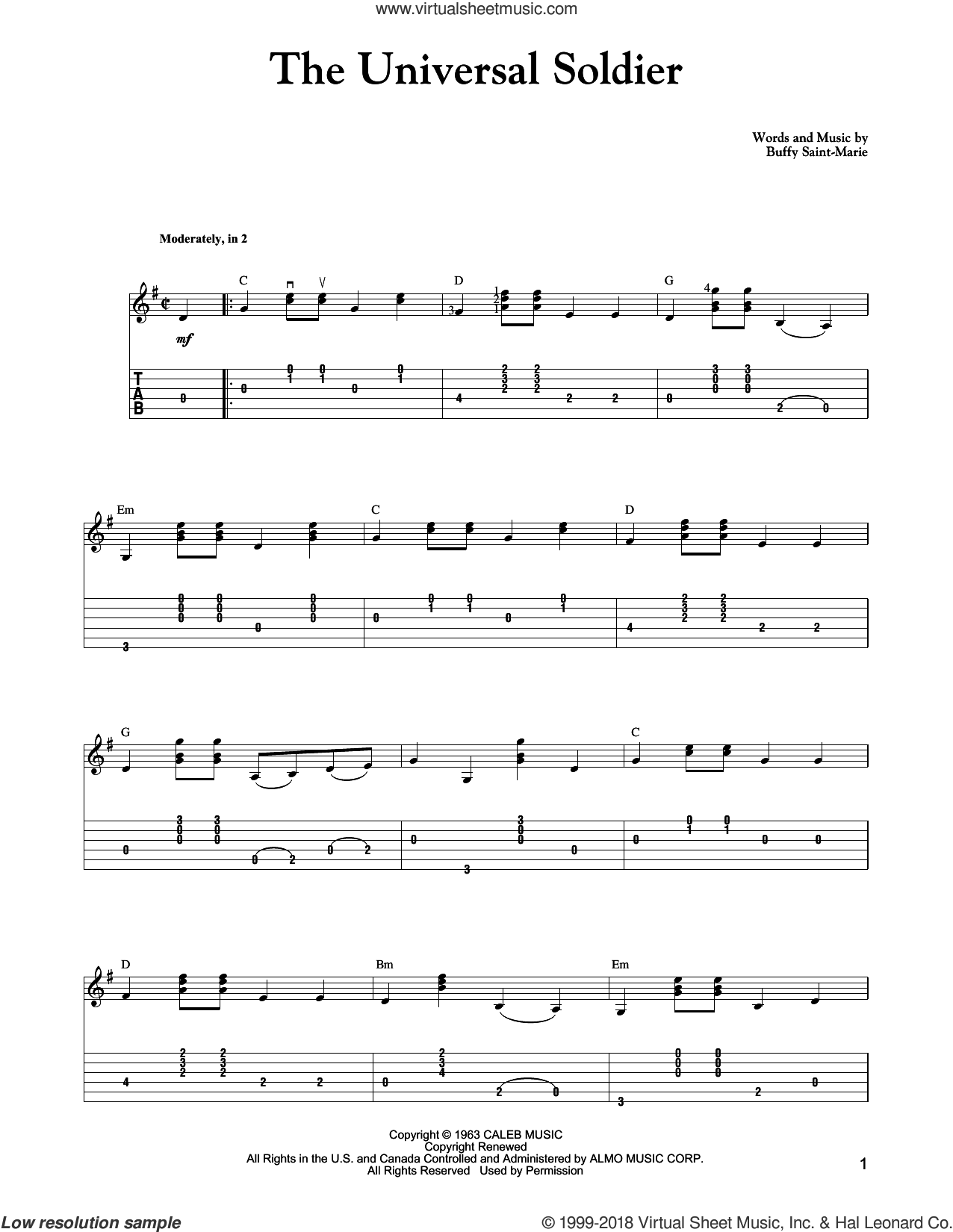The Universal Soldier sheet music for guitar solo by Buffy Sainte-Marie, Carter Style Guitar and Walter Donovan. Score Image Preview.