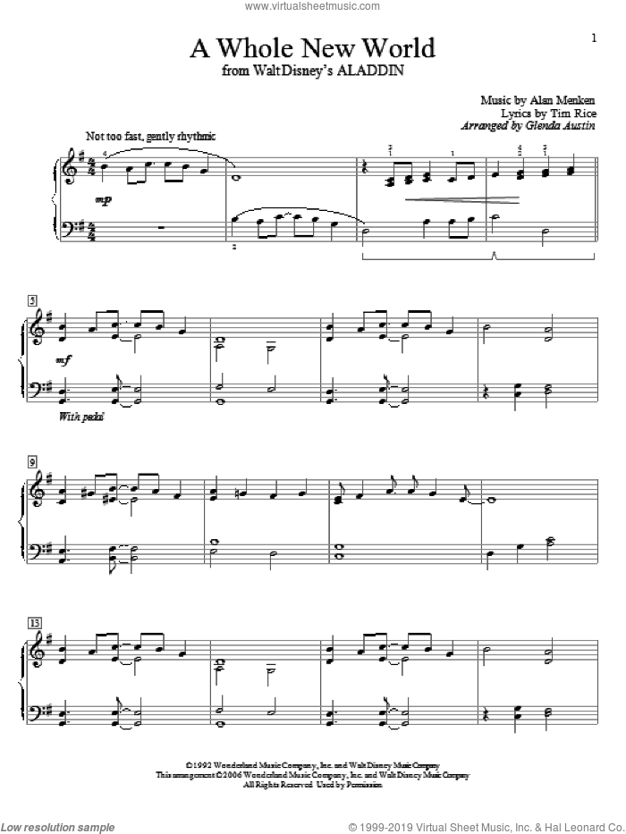 A Whole New World (from Aladdin) sheet music for piano solo (elementary) by Alan Menken, Glenda Austin and Tim Rice, beginner piano (elementary)