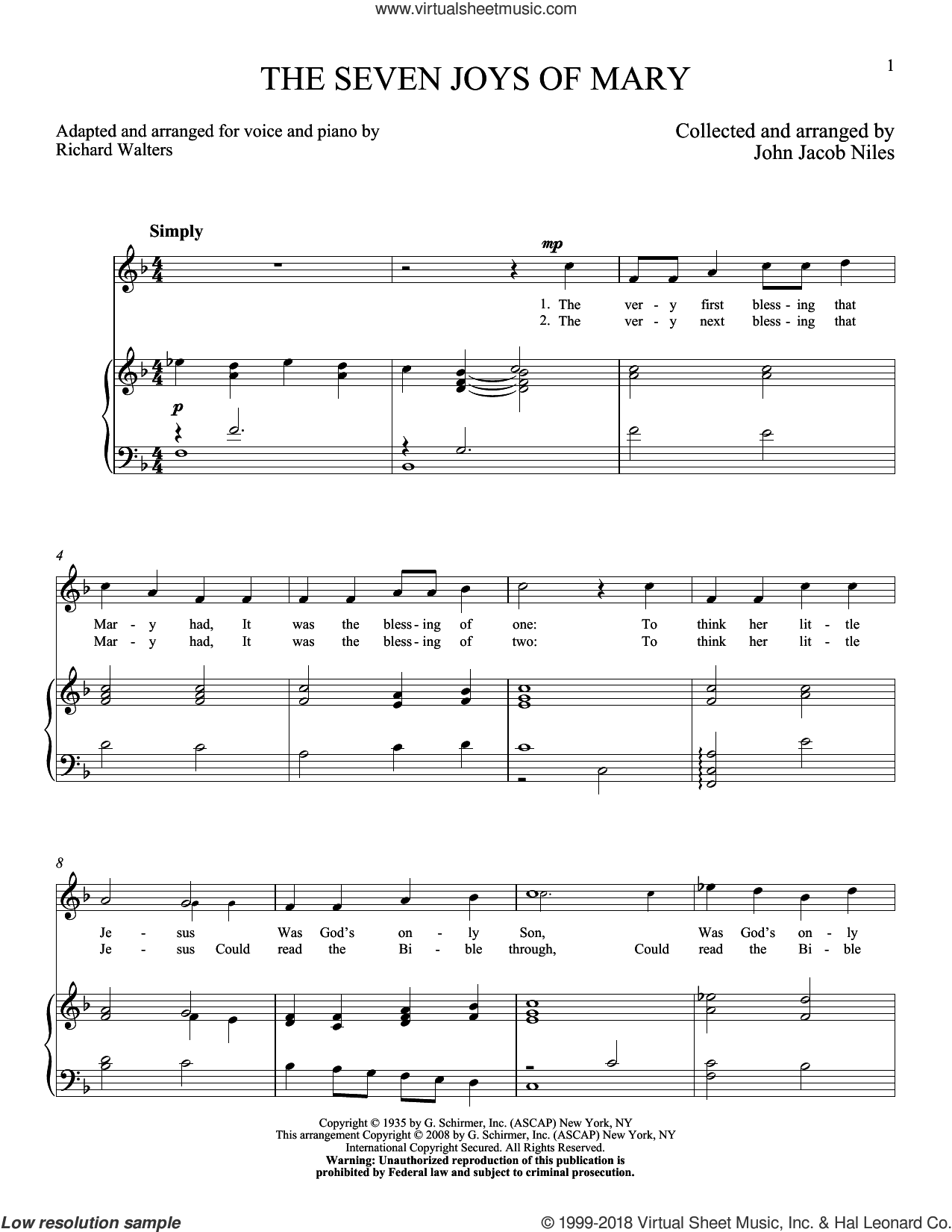 The Seven Joys Of Mary sheet music for voice and piano (High ) by John Jacob Niles, intermediate. Score Image Preview.