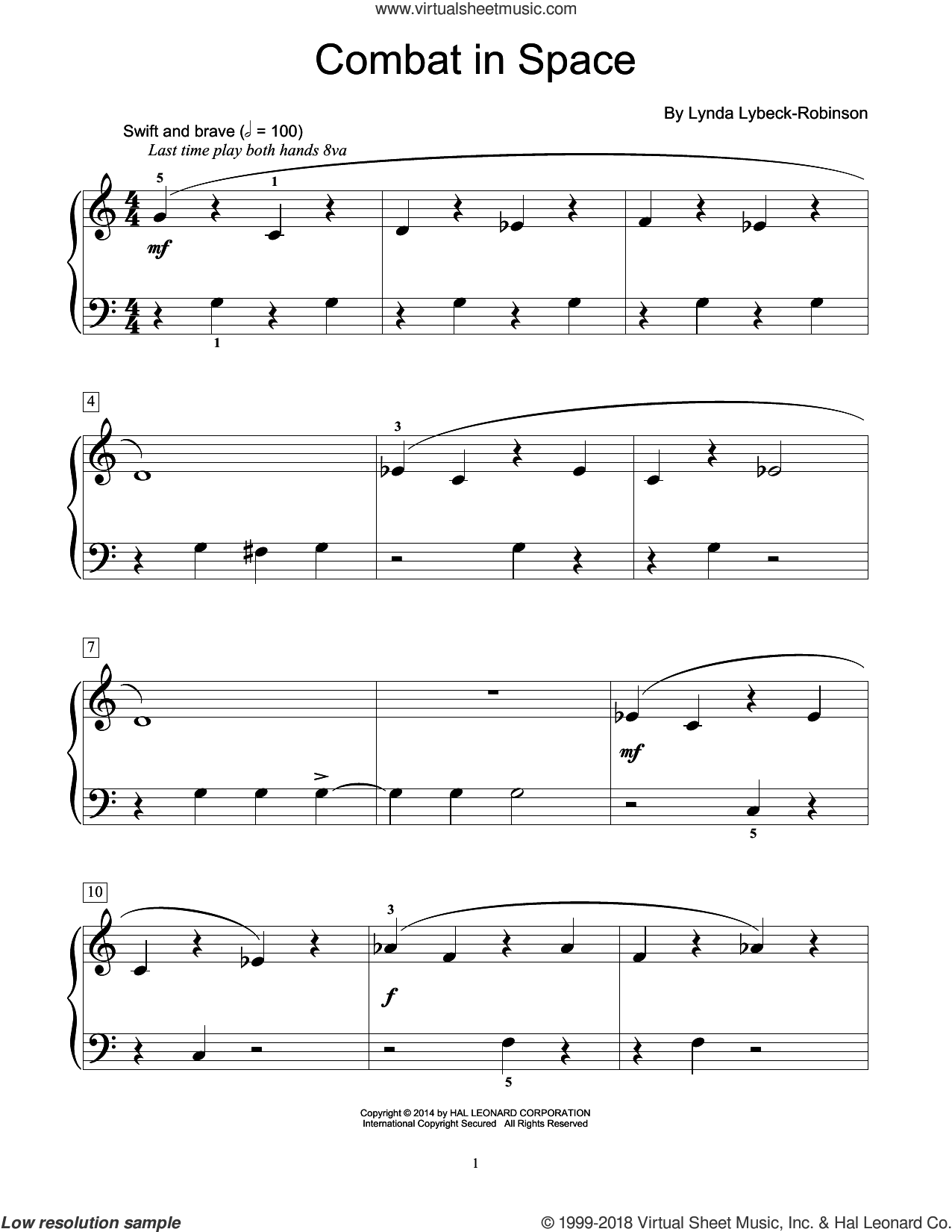Combat In Space sheet music for piano solo (elementary) by Lynda Lybeck-Robinson, beginner piano (elementary). Score Image Preview.