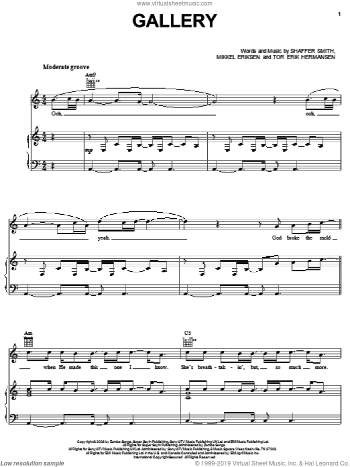 Gallery sheet music for voice, piano or guitar by Tor Erik Hermansen