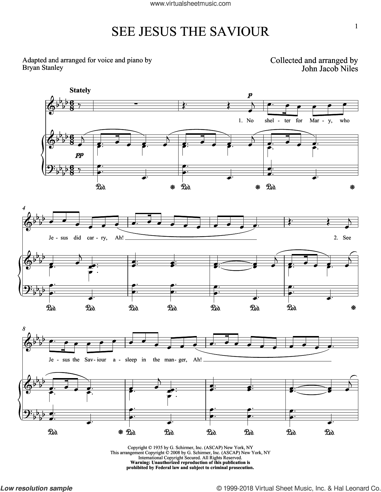 See Jesus, The Saviour sheet music for voice and piano (High Voice) by John Jacob Niles, intermediate skill level