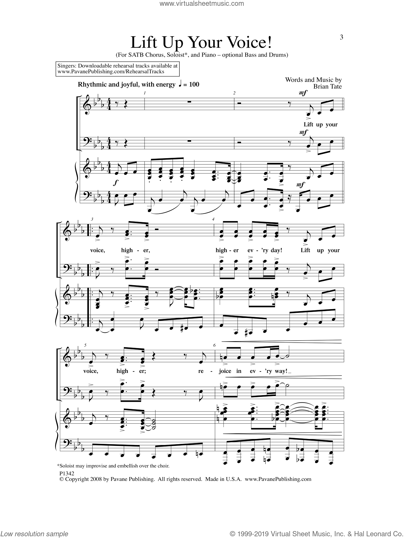 Lift Up Your Voice sheet music for choir by Brian Tate. Score Image Preview.
