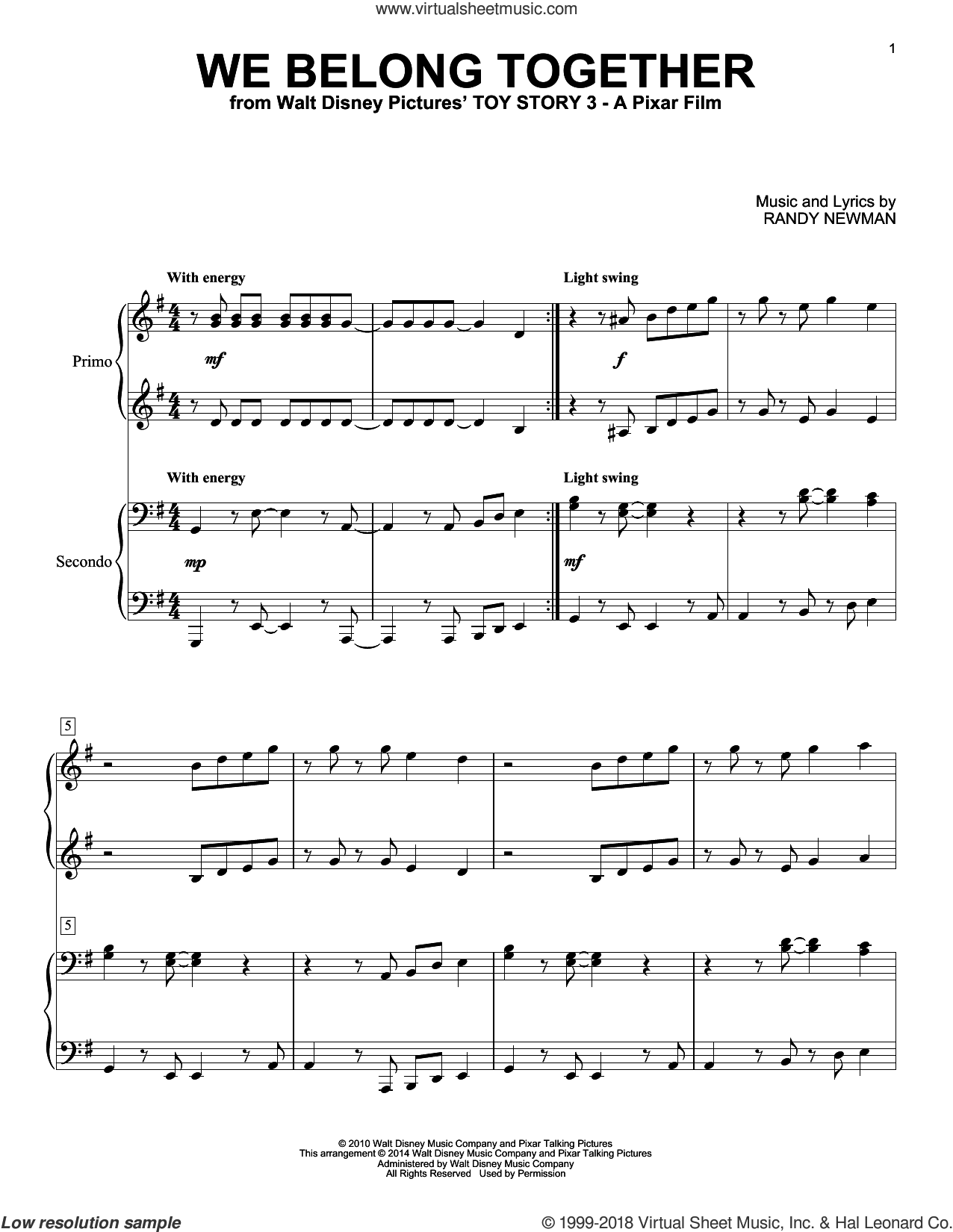 We Belong Together (from Toy Story 3) sheet music for piano four hands by Randy Newman, intermediate skill level