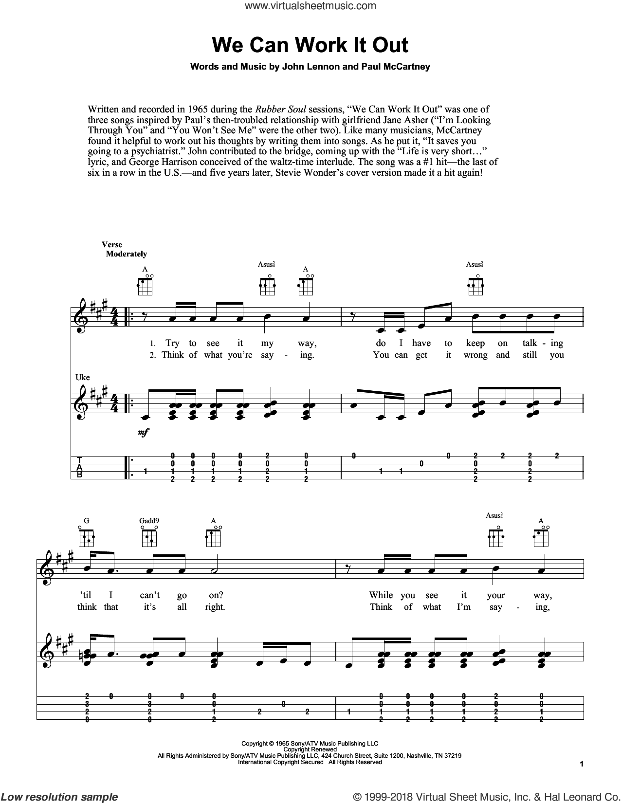 We Can Work It Out sheet music for ukulele by Paul McCartney, The Beatles and John Lennon. Score Image Preview.