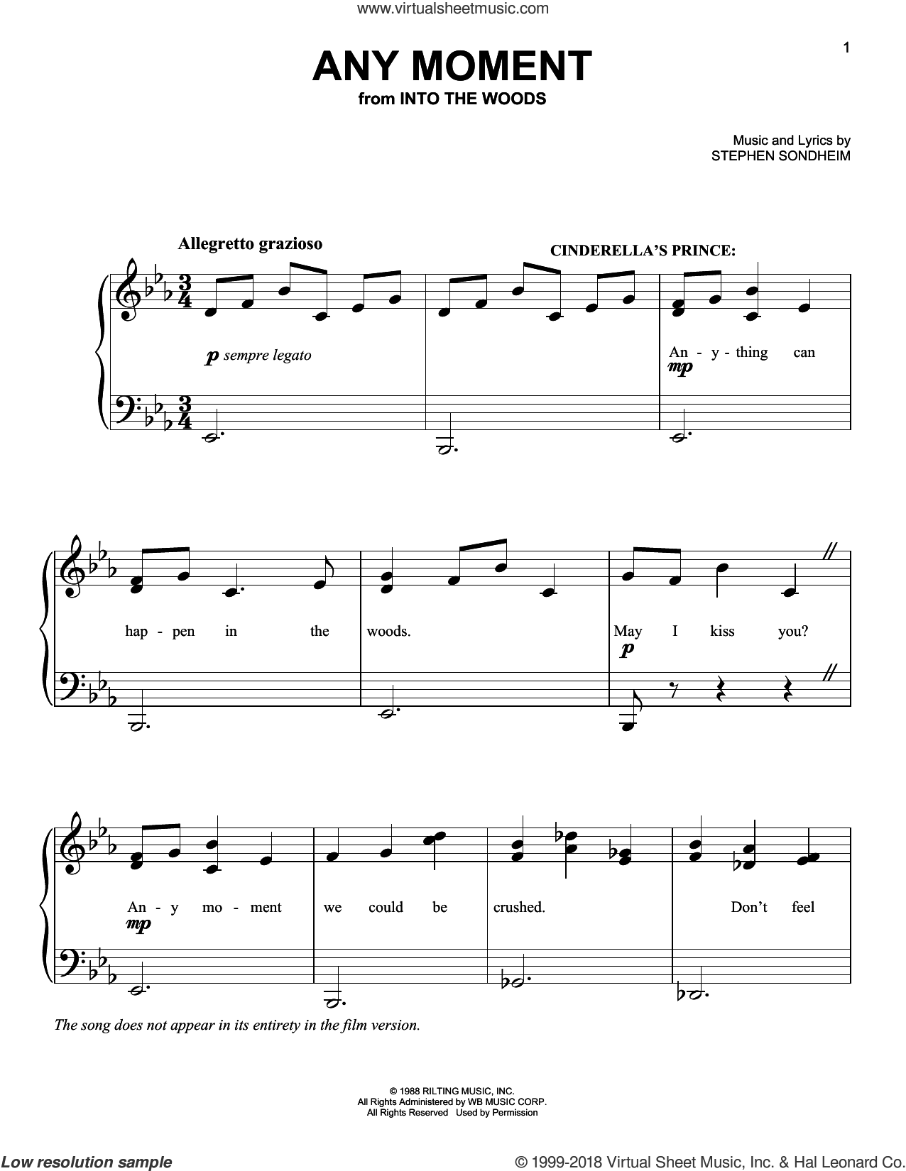 Any Moment - Part I (from Into The Woods) sheet music for piano solo by Stephen Sondheim, easy skill level