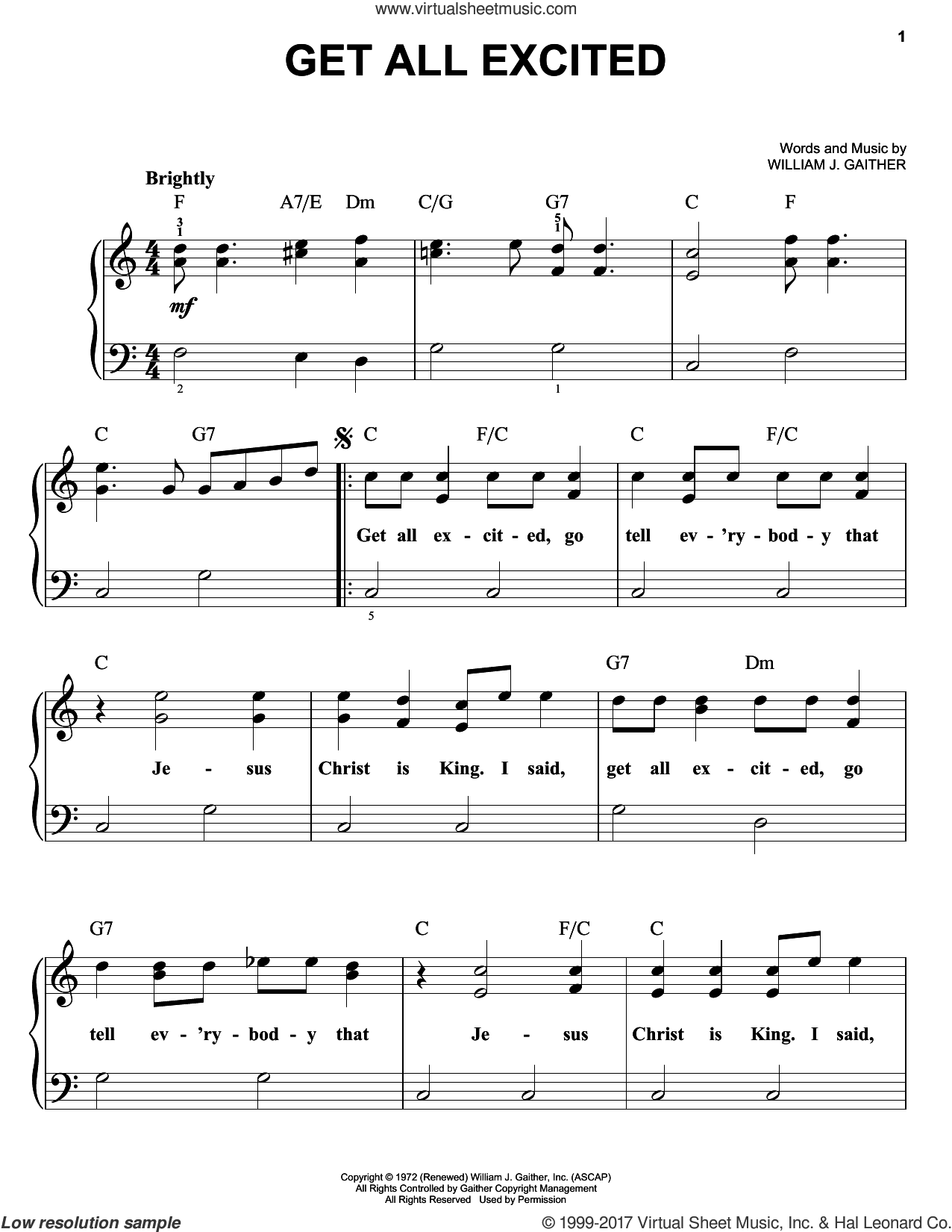 Get All Excited sheet music for piano solo by William J. Gaither, easy skill level
