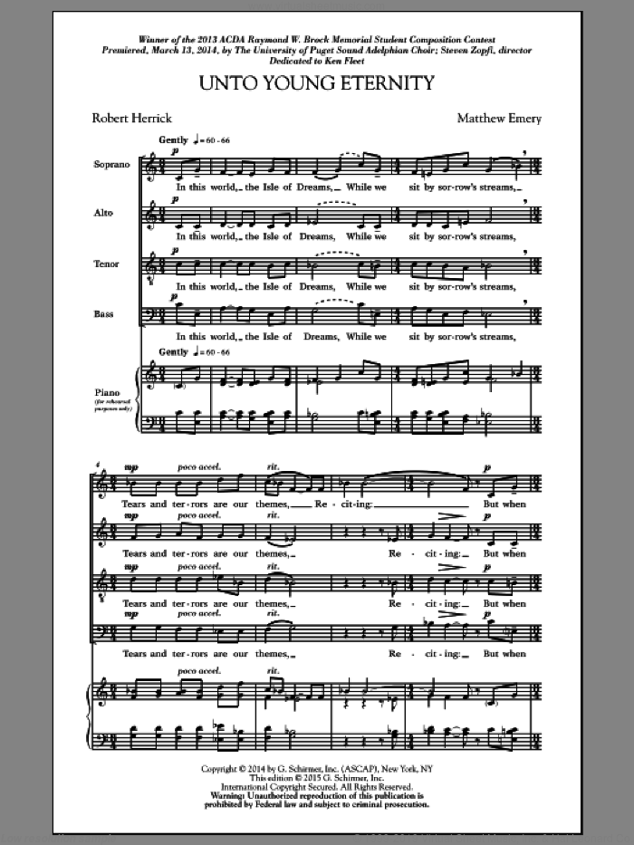 Unto Young Eternity sheet music for choir (SATB: soprano, alto, tenor, bass) by Matthew Emery and Jon Washburn, intermediate. Score Image Preview.