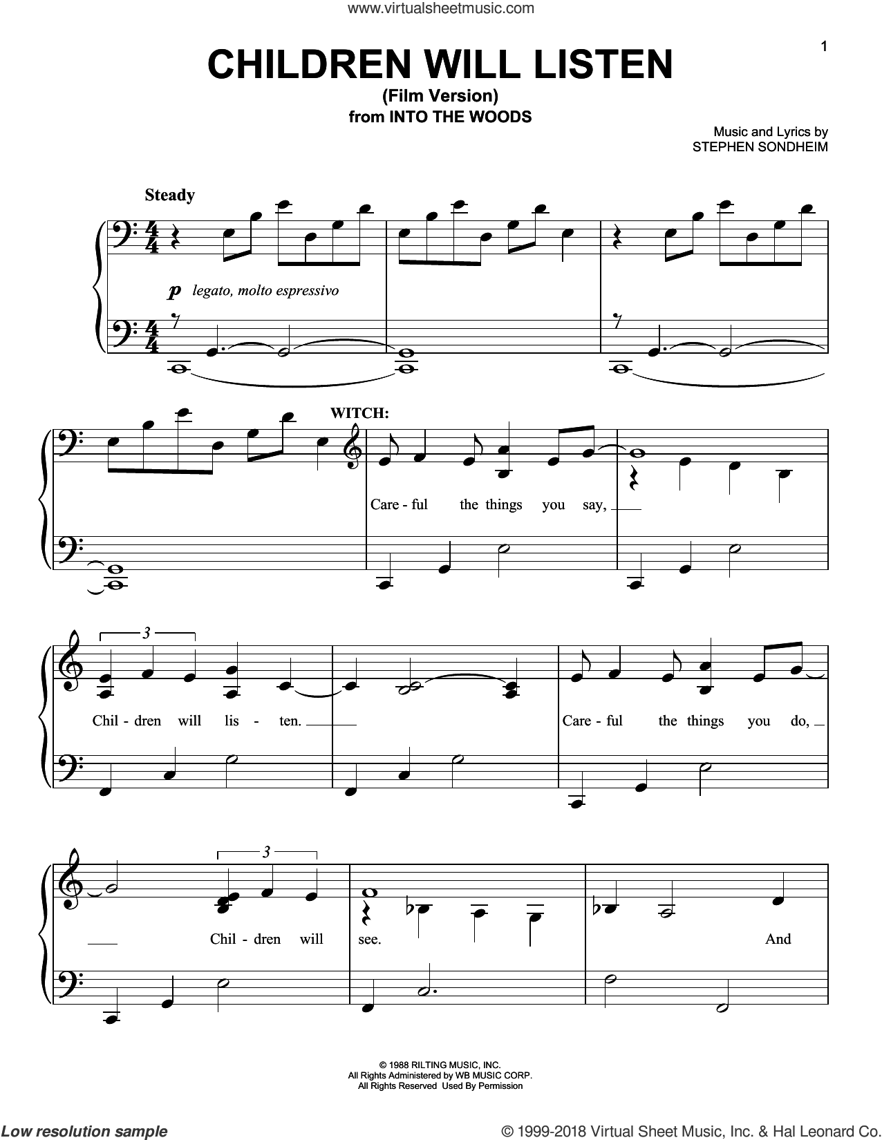 Children Will Listen (Film Version) (from Into The Woods) sheet music for piano solo by Stephen Sondheim, easy skill level