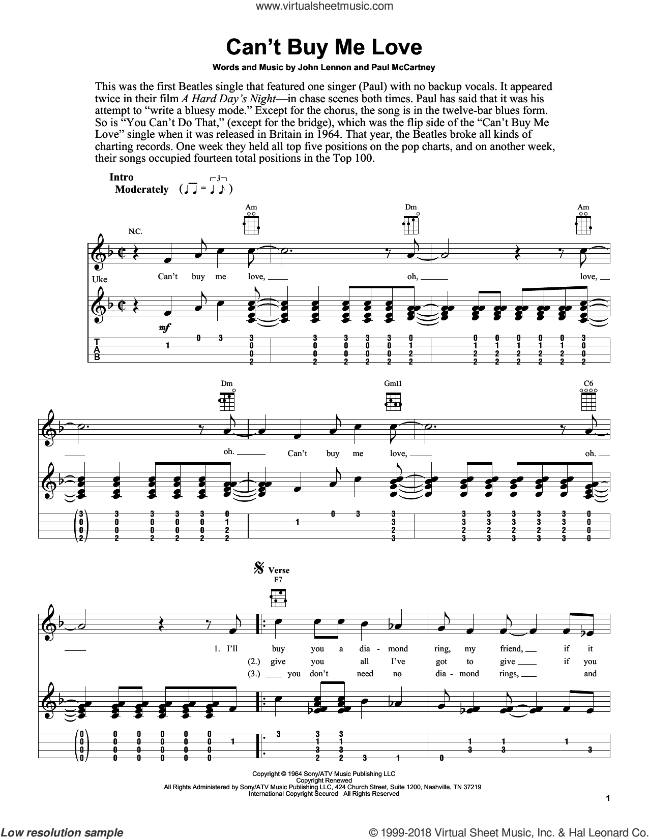 Can't Buy Me Love sheet music for ukulele by The Beatles, Fred Sokolow, John Lennon and Paul McCartney, intermediate skill level