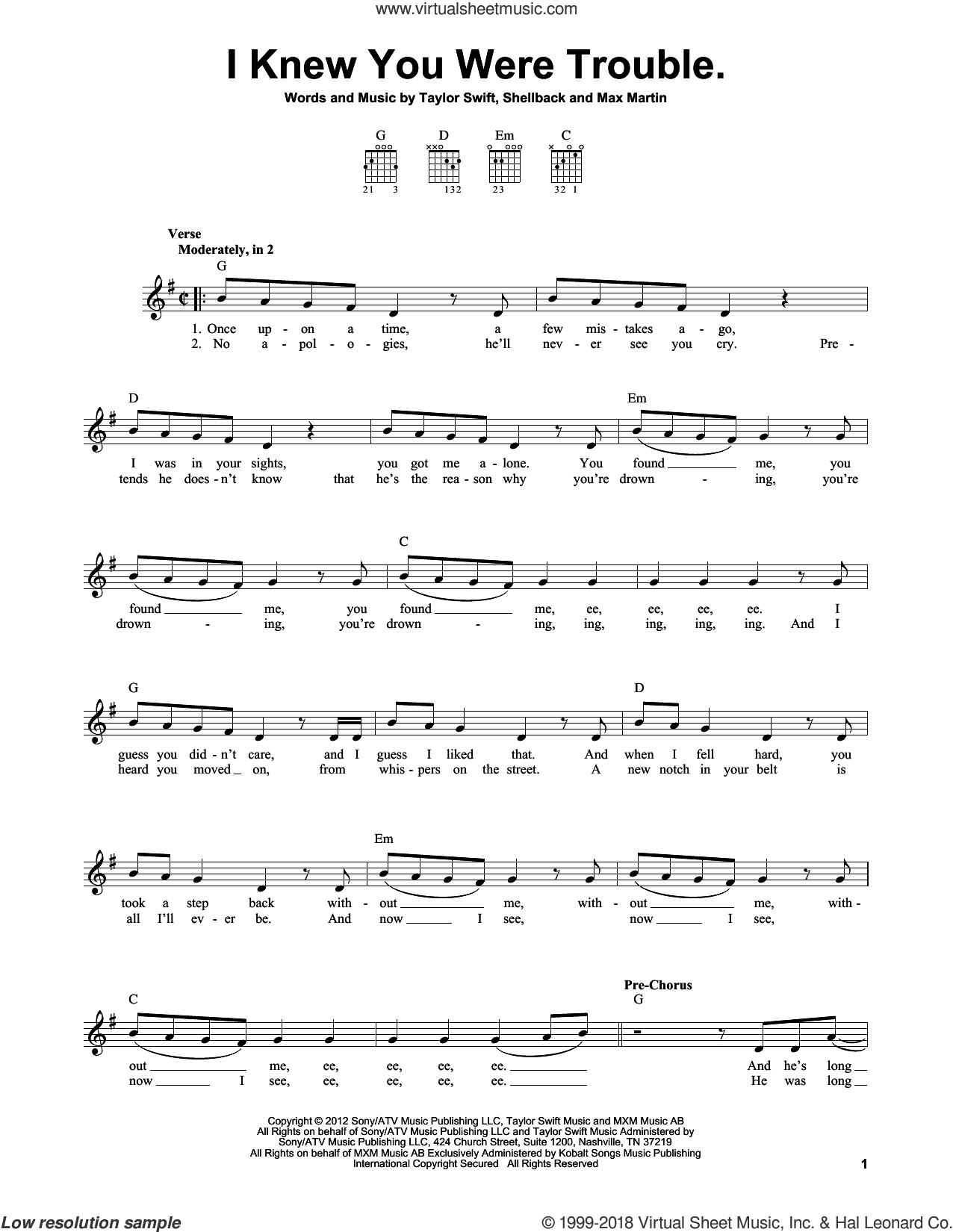 I Knew You Were Trouble sheet music for guitar solo (chords) by Shellback, Max Martin and Taylor Swift. Score Image Preview.
