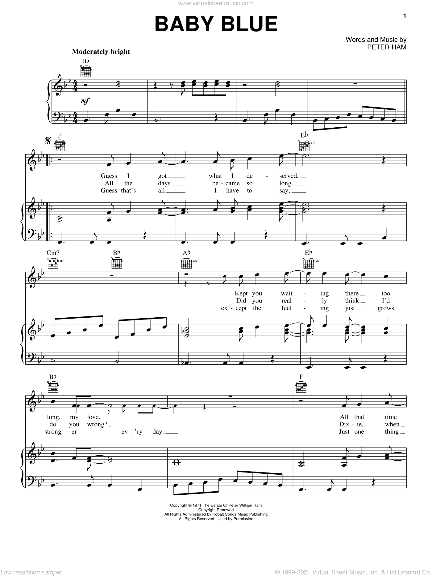 Baby Blue sheet music for voice, piano or guitar by Badfinger and Pete Ham, intermediate skill level