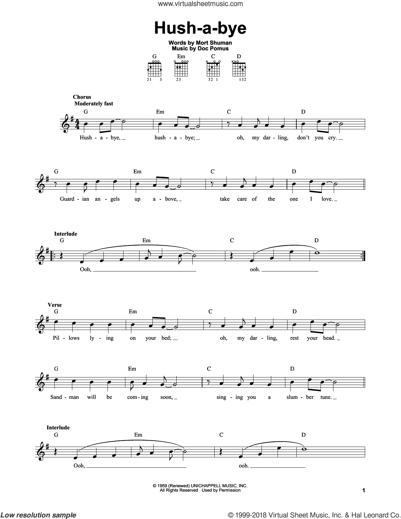 Hush-a-bye sheet music for guitar solo (chords) by Mystics, Doc Pomus and Mort Shuman, easy guitar (chords)