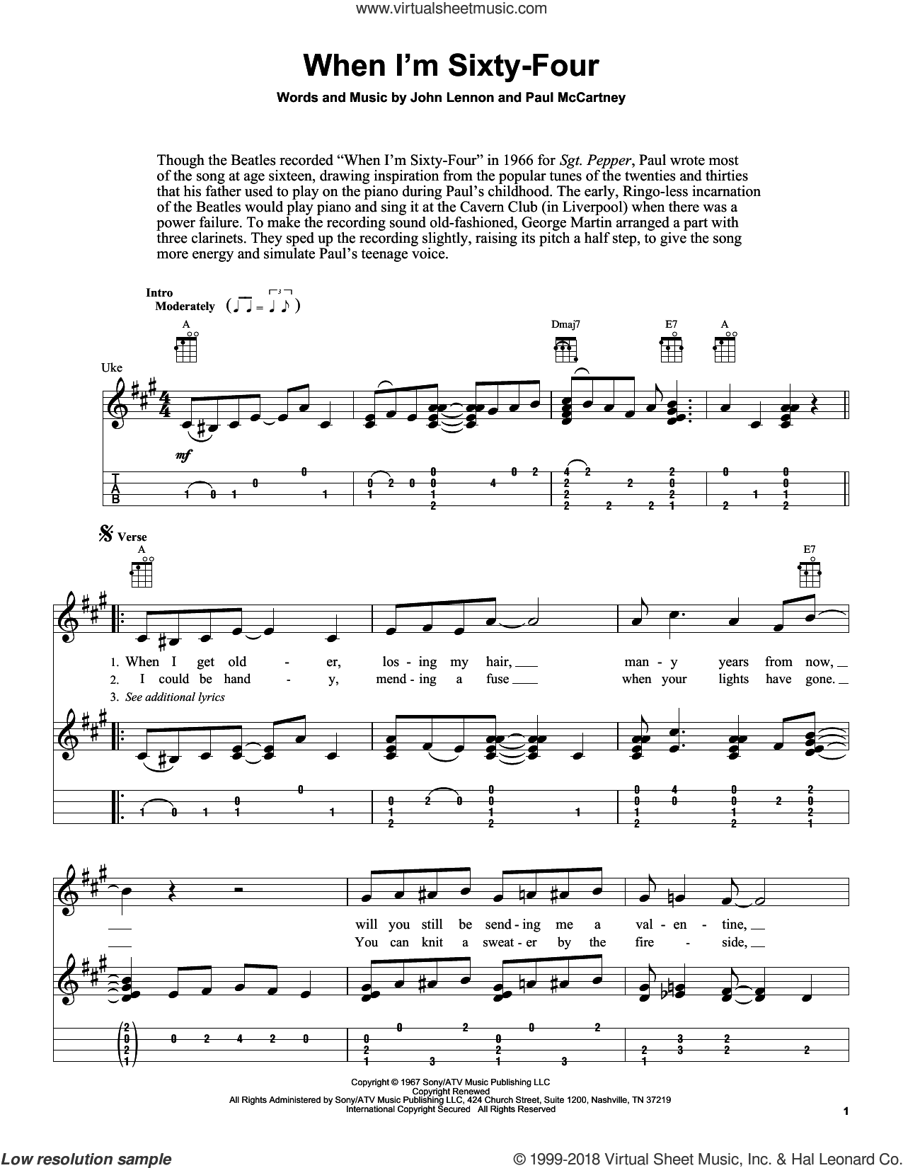 When I'm Sixty-Four sheet music for ukulele by The Beatles, Fred Sokolow, John Lennon and Paul McCartney, intermediate skill level