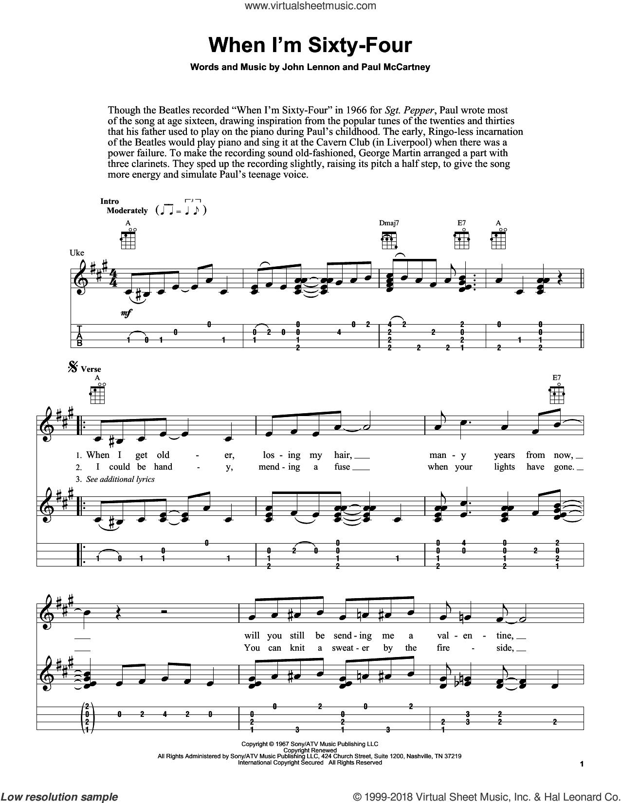 When I'm Sixty-Four sheet music for ukulele (easy tablature) (ukulele easy tab) by The Beatles, Fred Sokolow, John Lennon and Paul McCartney, intermediate skill level