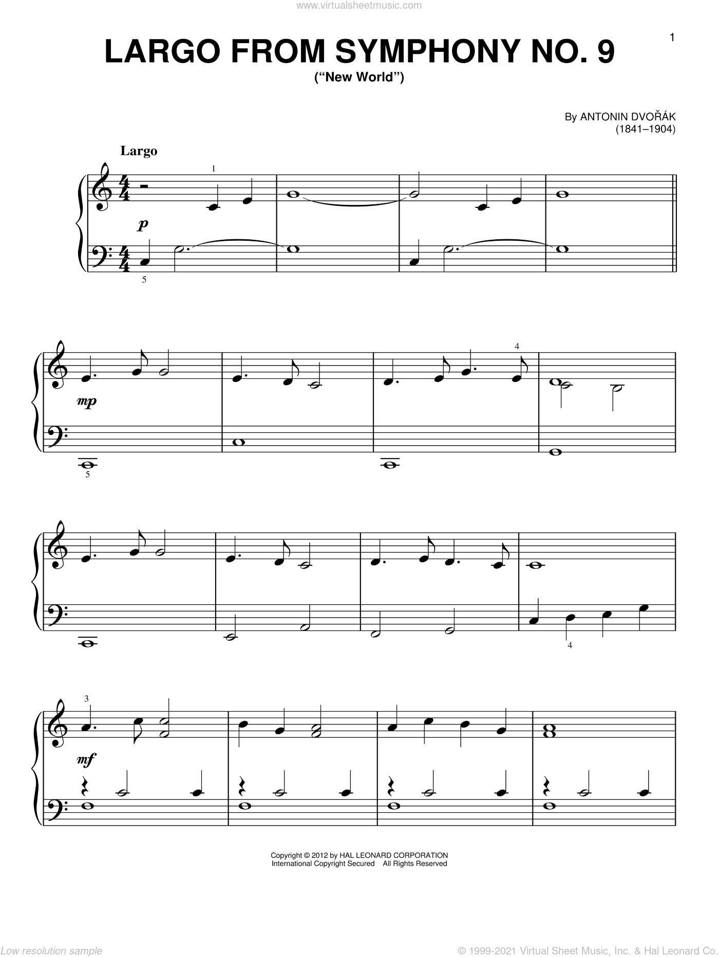 Largo From Symphony No. 9 ('New World'), (beginner) sheet music for piano solo by Antonin Dvorak and Antonin Dvorak, classical score, beginner skill level