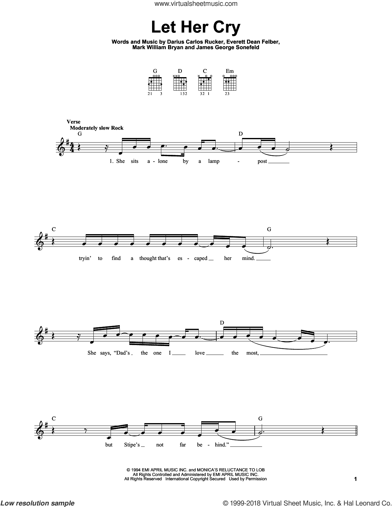 Let Her Cry sheet music for guitar solo (chords) by Hootie & The Blowfish, Darius Carlos Rucker, Everett Dean Felber, James George Sonefeld and Mark William Bryan, easy guitar (chords)