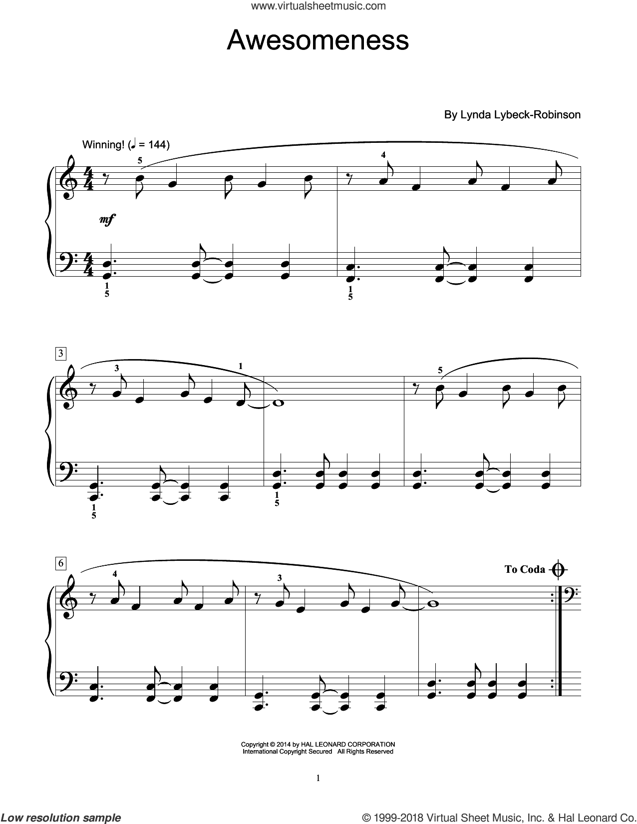 Awesomeness sheet music for piano solo (elementary) by Lynda Lybeck-Robinson, beginner piano (elementary)