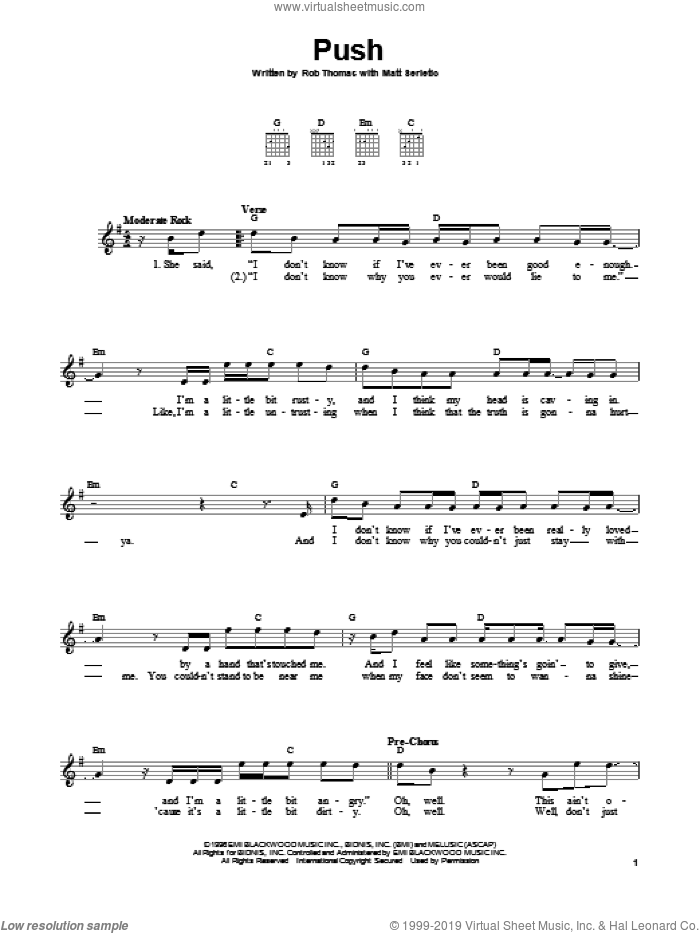 Push sheet music for guitar solo (chords) by Rob Thomas and Matt Serletic. Score Image Preview.