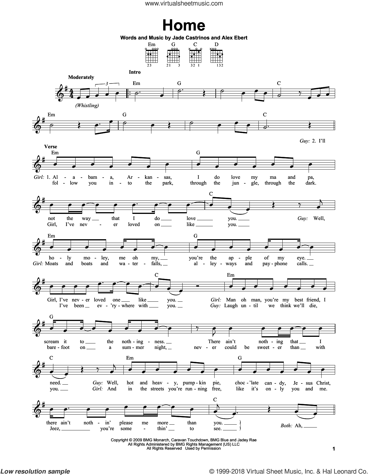 Home sheet music for guitar solo (chords) by Edward Sharpe & the Magnetic Zeros, Alex Ebert and Jade Castrinos, easy guitar (chords)