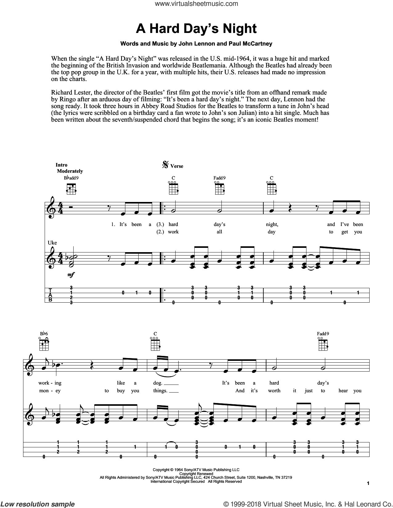 A Hard Day's Night sheet music for ukulele by The Beatles, Fred Sokolow, John Lennon and Paul McCartney, intermediate skill level