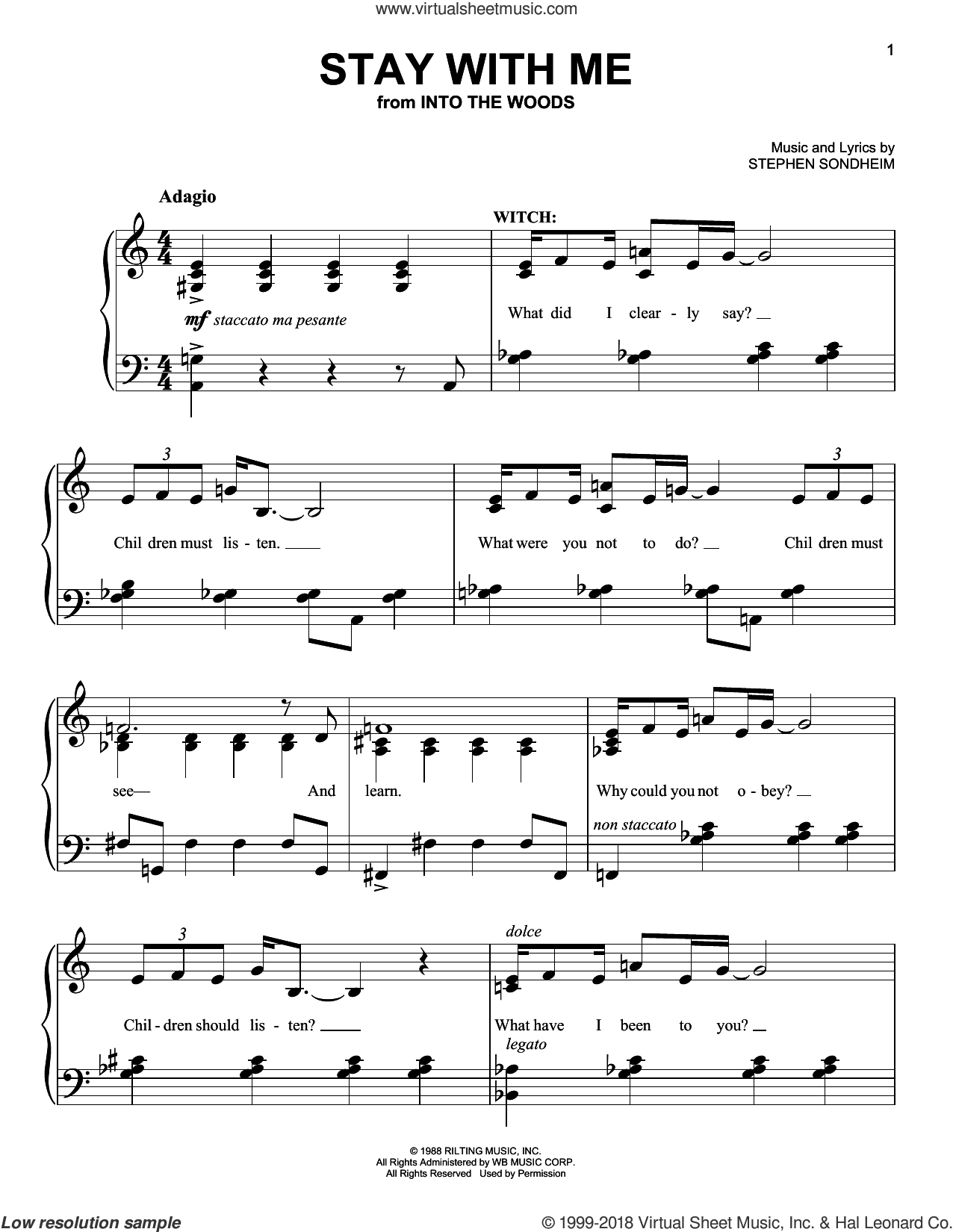 Stay With Me sheet music for piano solo by Stephen Sondheim. Score Image Preview.
