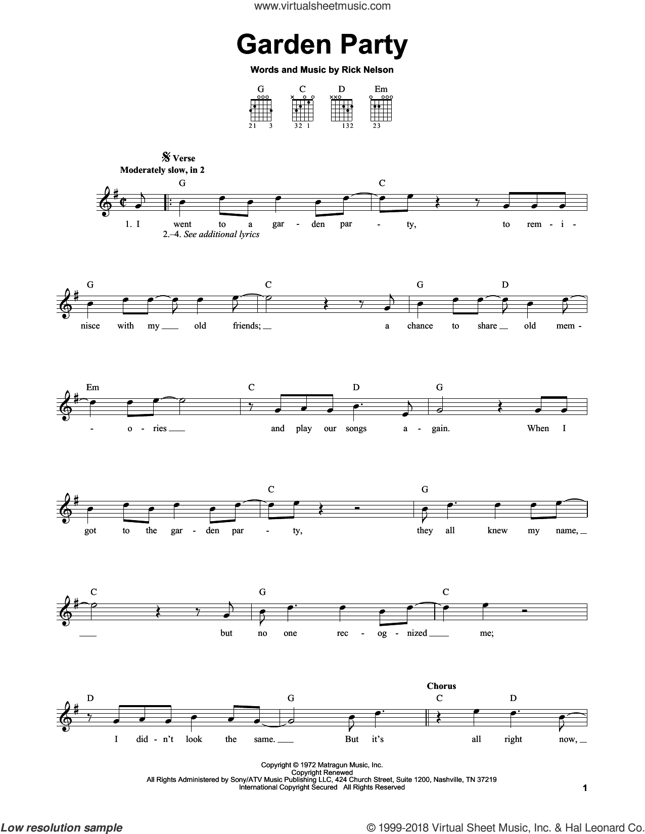 Garden Party sheet music for guitar solo (chords) by Ricky Nelson. Score Image Preview.