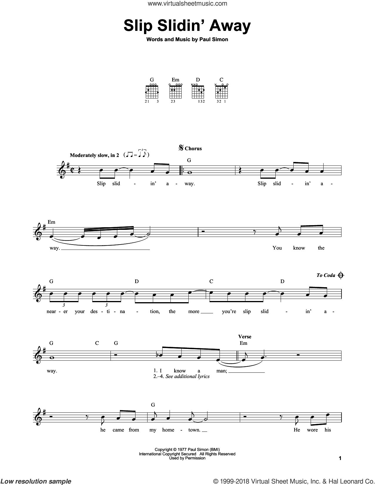 Slip Slidin' Away sheet music for guitar solo (chords) by Paul Simon and Simon & Garfunkel. Score Image Preview.