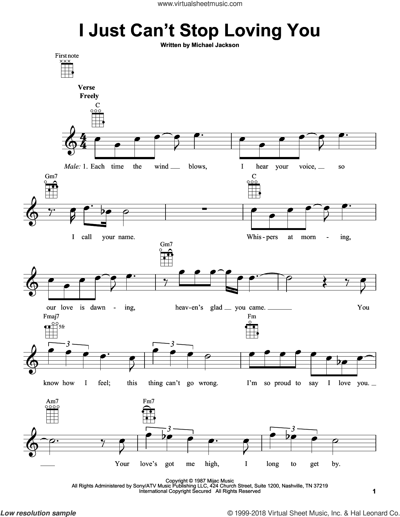 I Just Can't Stop Loving You sheet music for ukulele by Michael Jackson, intermediate skill level