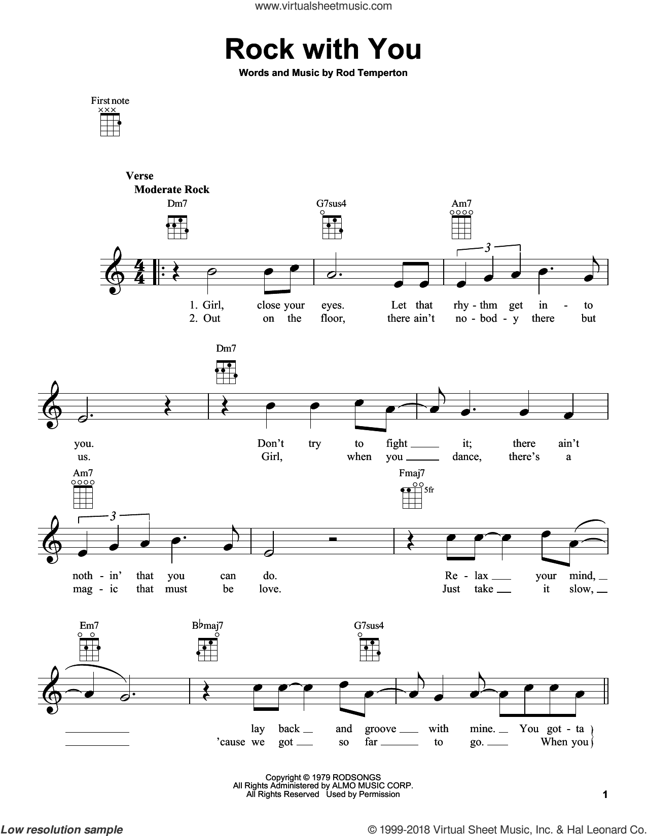 Rock With You sheet music for ukulele by Rod Temperton and Michael Jackson. Score Image Preview.