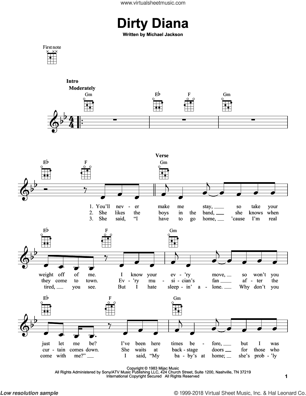 Dirty Diana sheet music for ukulele by Michael Jackson, intermediate skill level