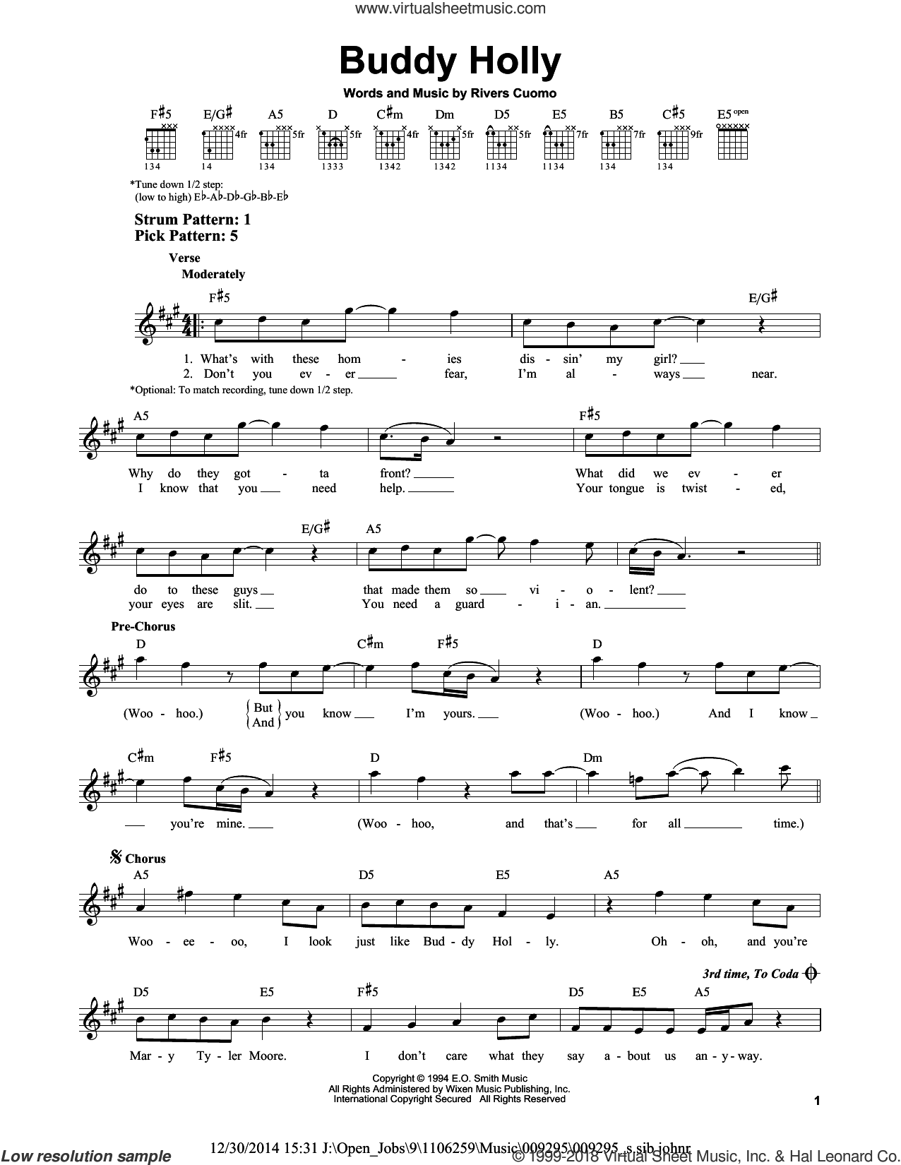 Buddy Holly sheet music for guitar solo (chords) by Rivers Cuomo and Weezer. Score Image Preview.