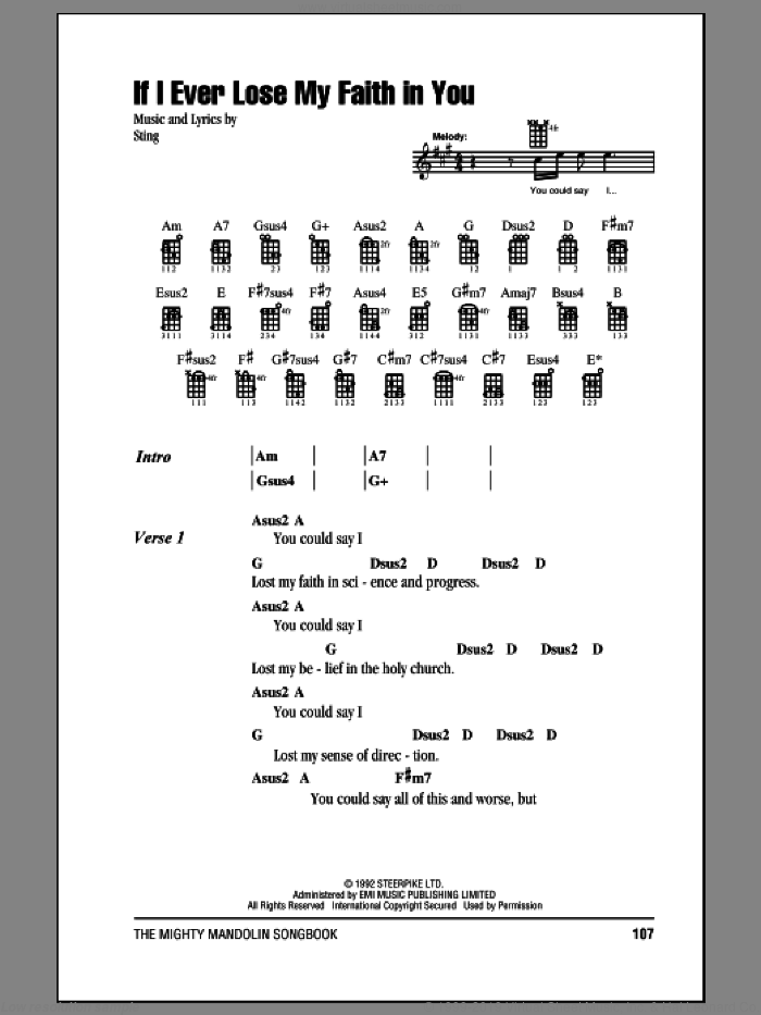 If I Ever Lose My Faith In You sheet music for mandolin (chords only) by Sting, intermediate skill level