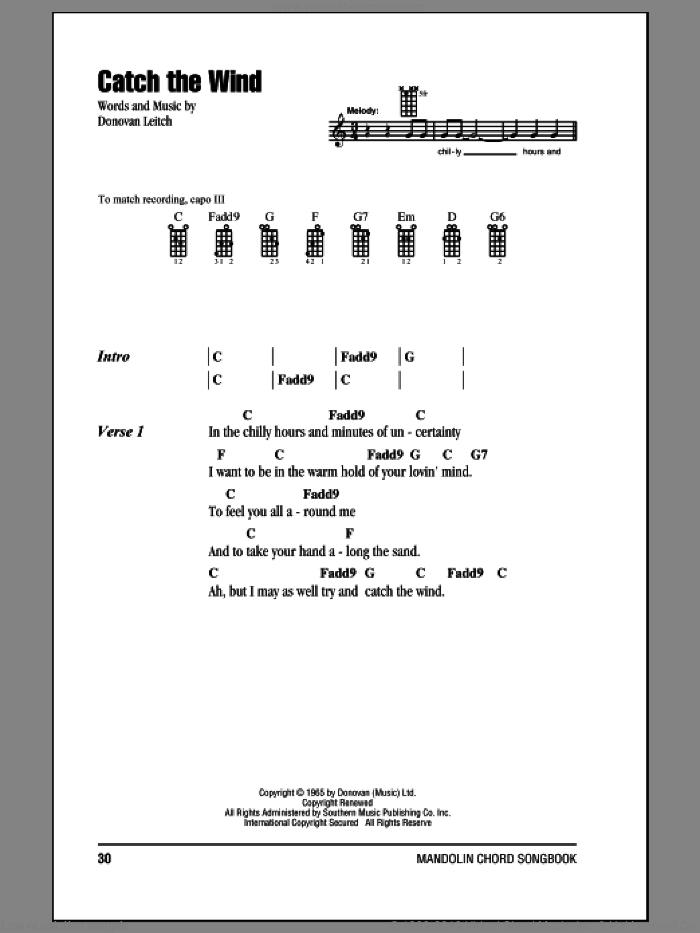 Catch The Wind sheet music for mandolin (chords only) by Walter Donovan and Donovan Leitch, intermediate