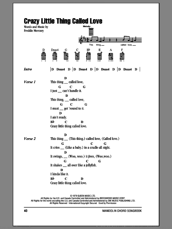 Crazy Little Thing Called Love sheet music for mandolin (chords only) by Queen, Dwight Yoakam and Freddie Mercury, intermediate. Score Image Preview.