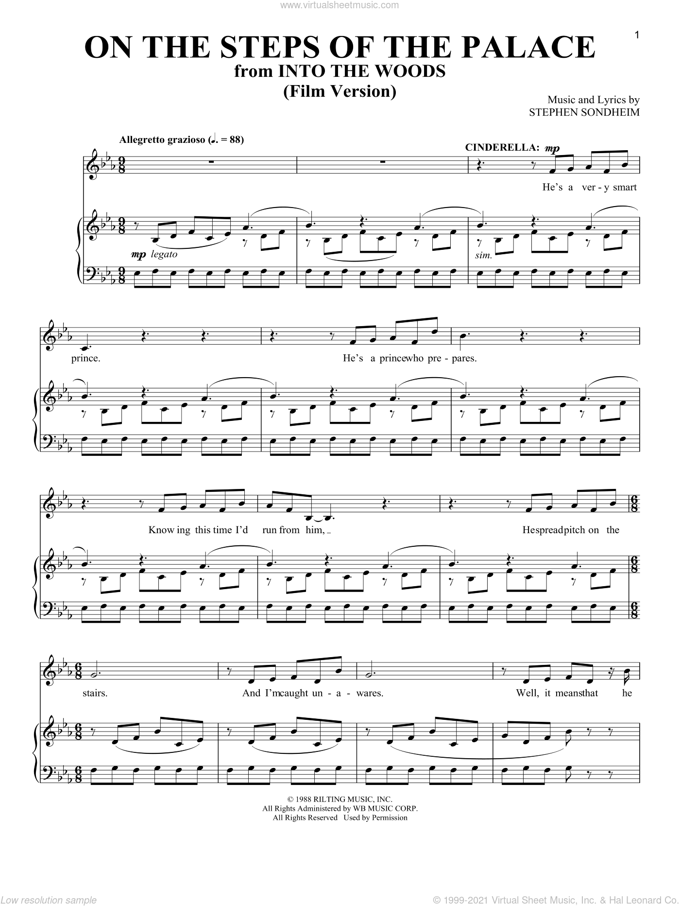 On The Steps Of The Palace (Film Version) (from Into The Woods) sheet music for voice and piano by Stephen Sondheim, intermediate skill level