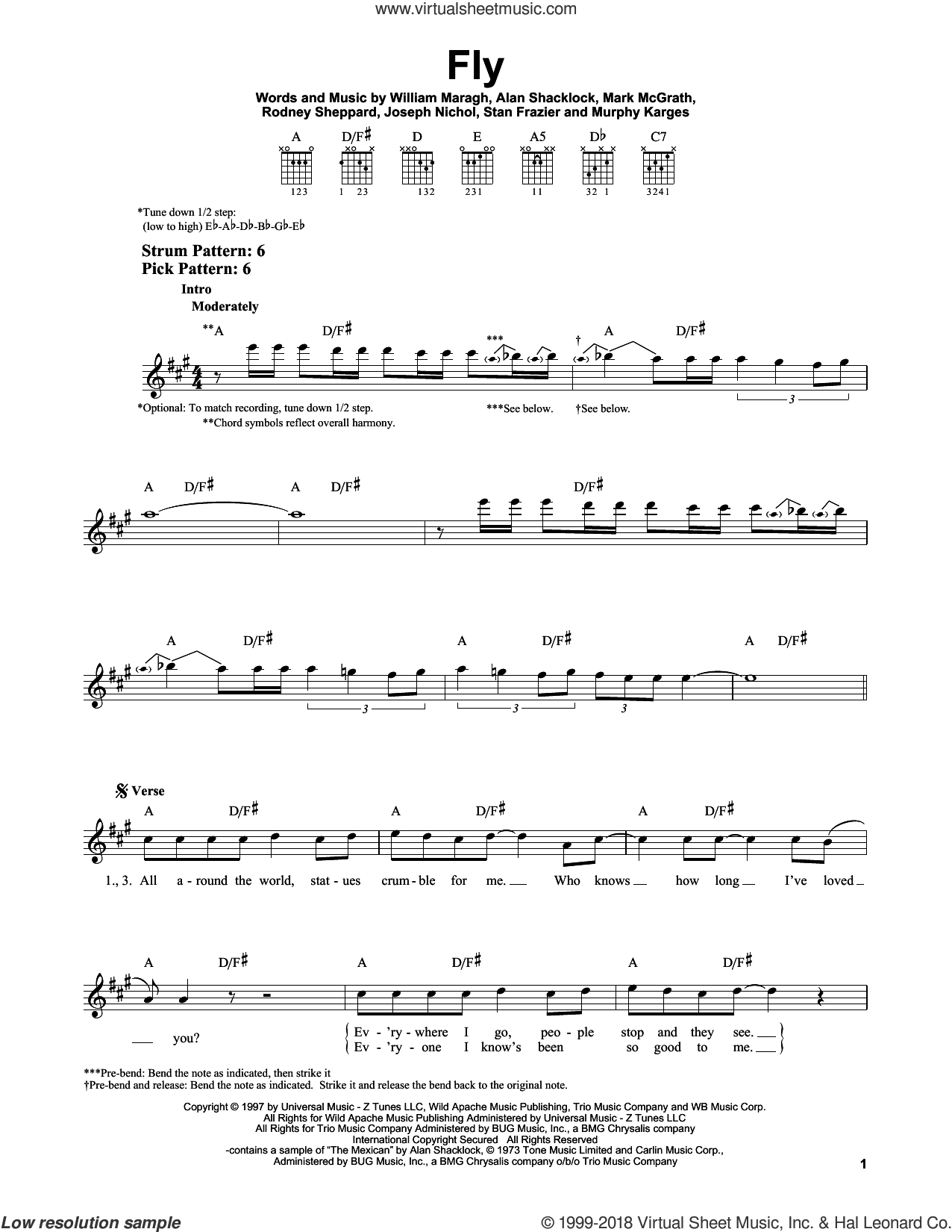 Fly sheet music for guitar solo (chords) by Sugar Ray, Mark McGrath, Murphy Karges, Rodney Sheppard, Stan Frazier and William Maragh, easy guitar (chords). Score Image Preview.