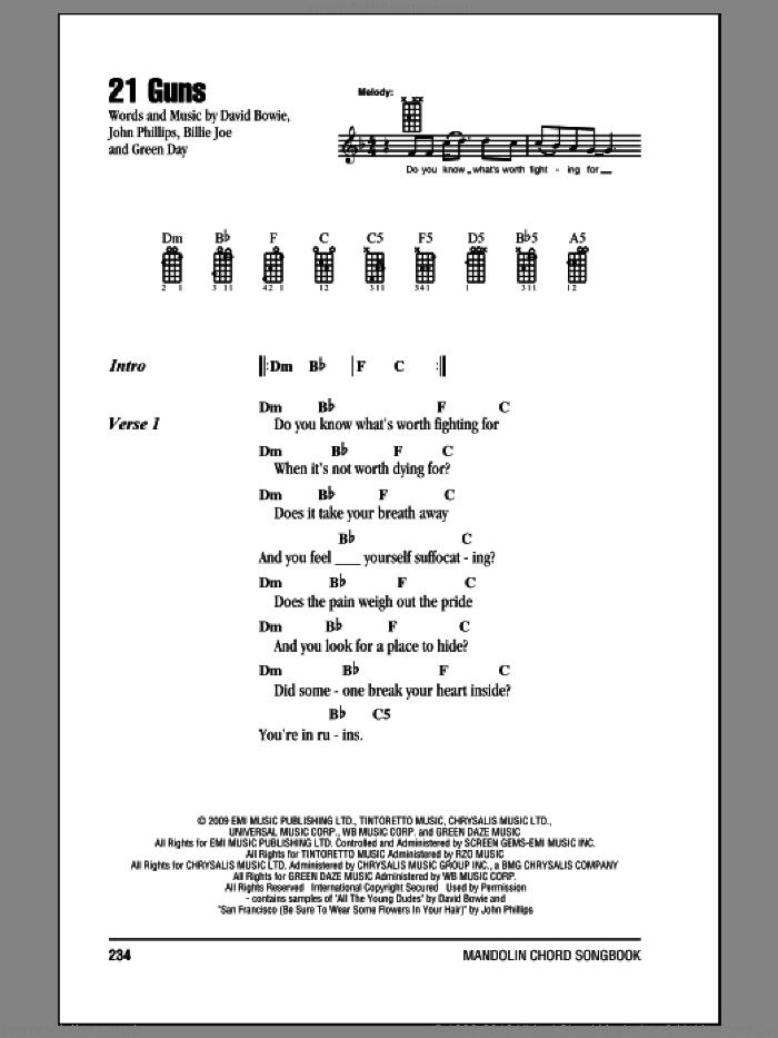 21 Guns sheet music for mandolin (chords only) by Green Day, Billie Joe, David Bowie and John Phillips, intermediate skill level