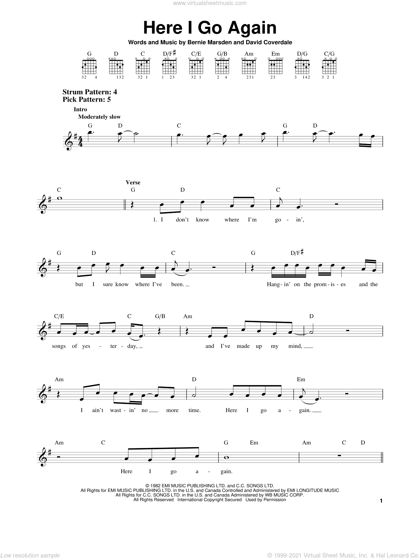 Here I Go Again sheet music for guitar solo (chords) by Whitesnake, Bernie Marsden and David Coverdale. Score Image Preview.