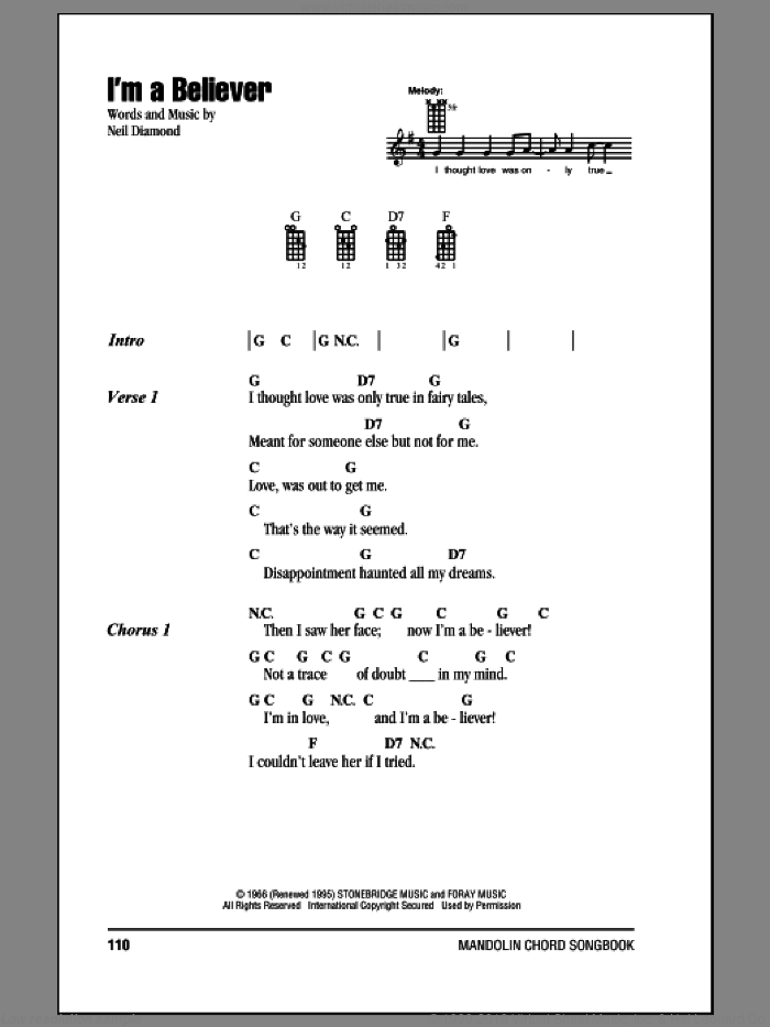 Monkees - I\'m A Believer sheet music for mandolin (chords only)