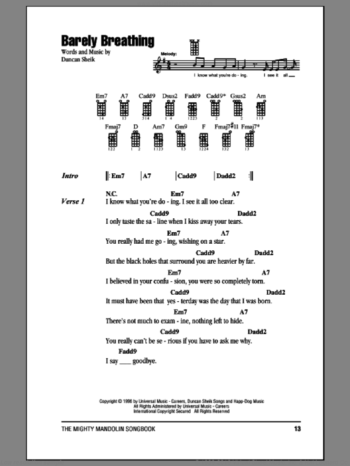 Barely Breathing sheet music for mandolin (chords only) by Duncan Sheik, intermediate. Score Image Preview.