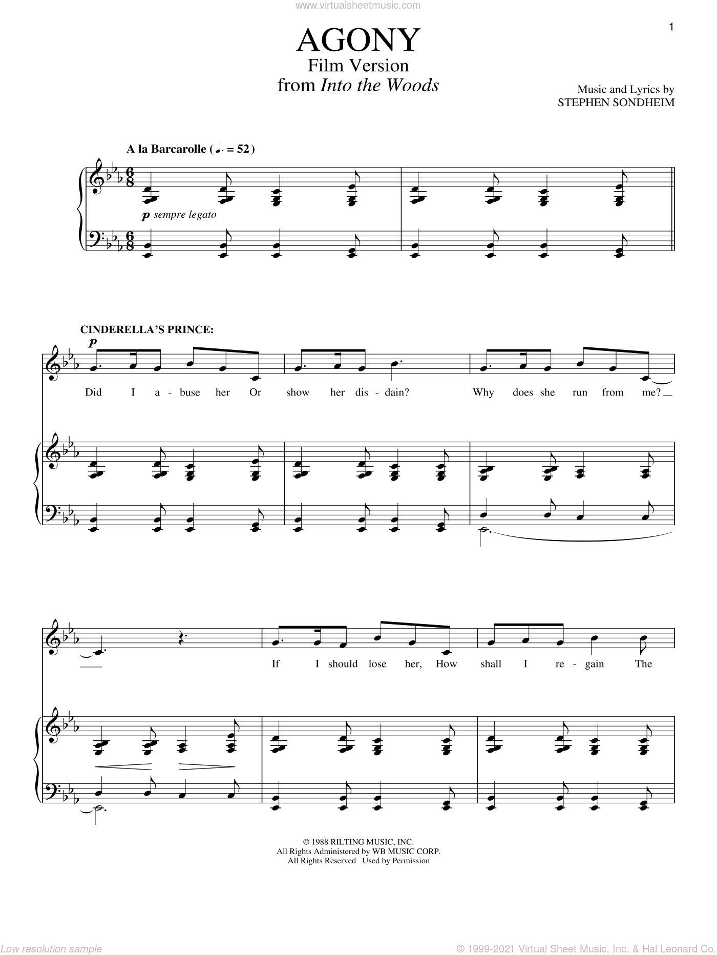 Agony (Film Version) sheet music for voice and piano by Stephen Sondheim, intermediate skill level