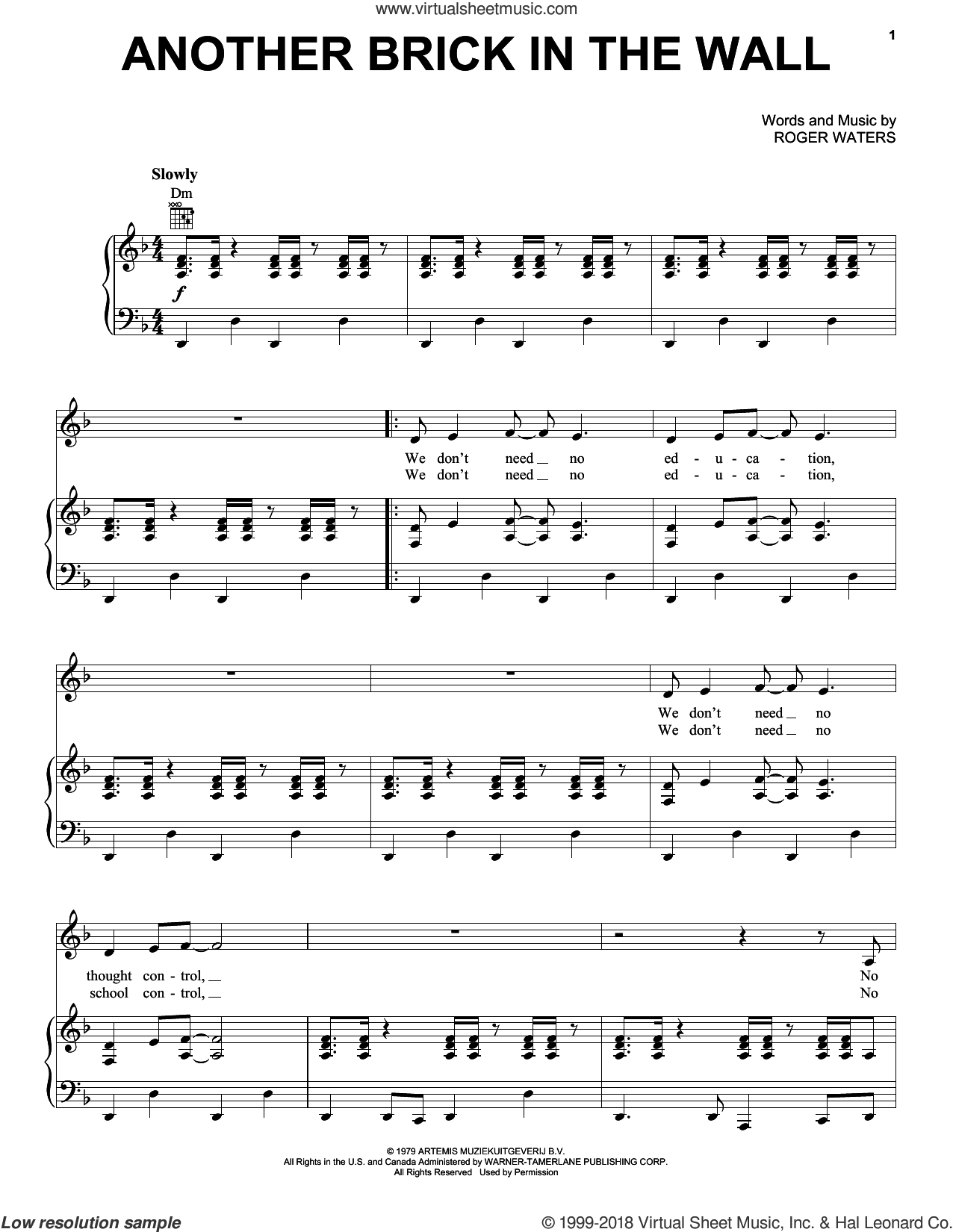 Another Brick In The Wall sheet music for voice, piano or guitar by Pink Floyd and Roger Waters, intermediate skill level