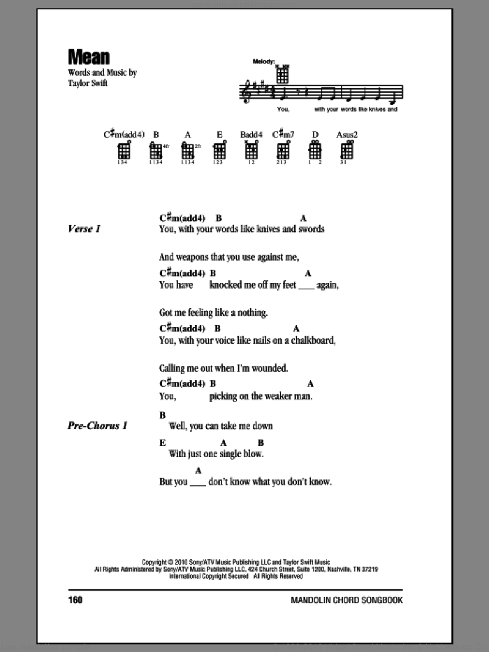 Swift - Mean sheet music for mandolin (chords only)