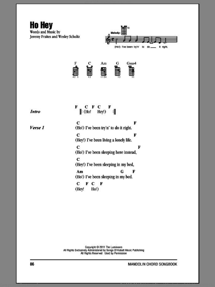 Ho Hey sheet music for mandolin (chords only) by The Lumineers, intermediate mandolin (chords only). Score Image Preview.