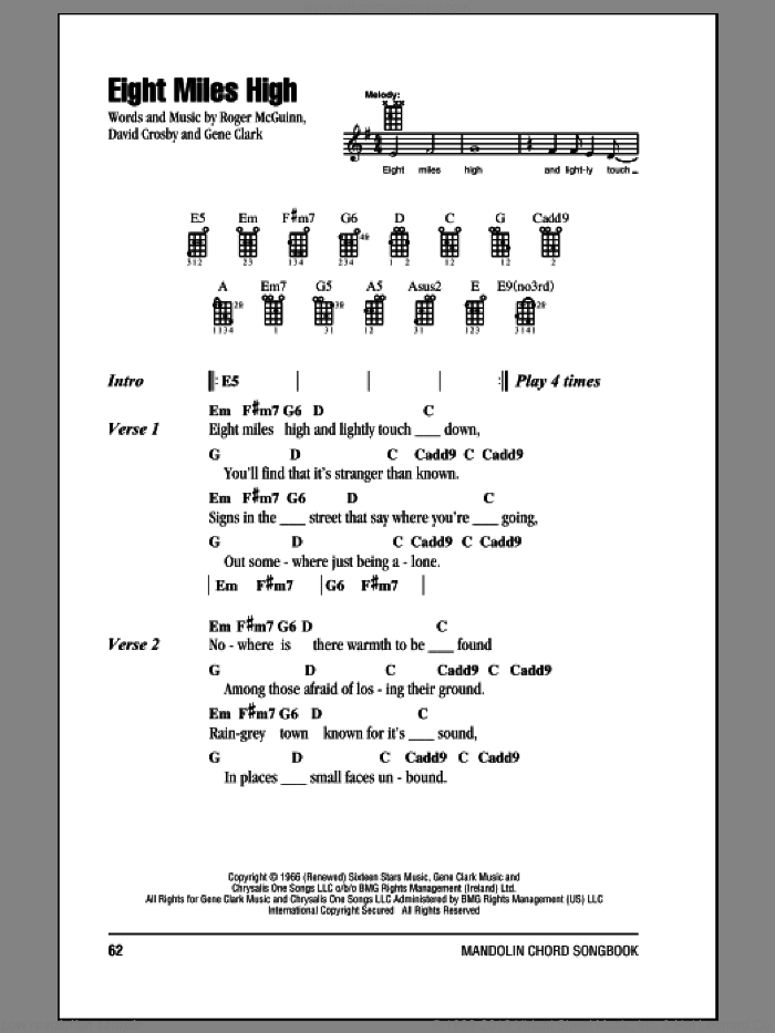 Byrds Eight Miles High Sheet Music For Mandolin Chords Only
