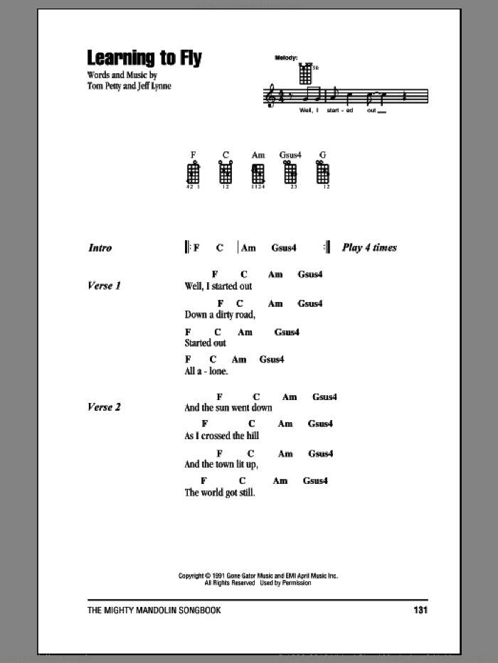 Learning To Fly sheet music for mandolin (chords only) by Tom Petty and Jeff Lynne, intermediate skill level