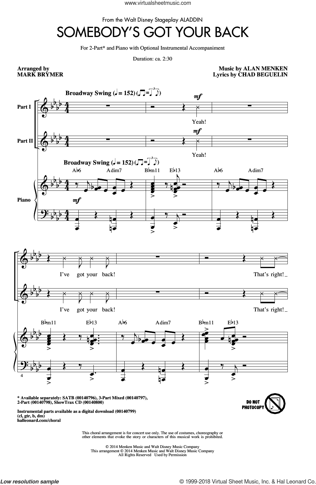Somebody's Got Your Back sheet music for choir (2-Part) by Alan Menken, Mark Brymer and Chad Beguelin, intermediate duet