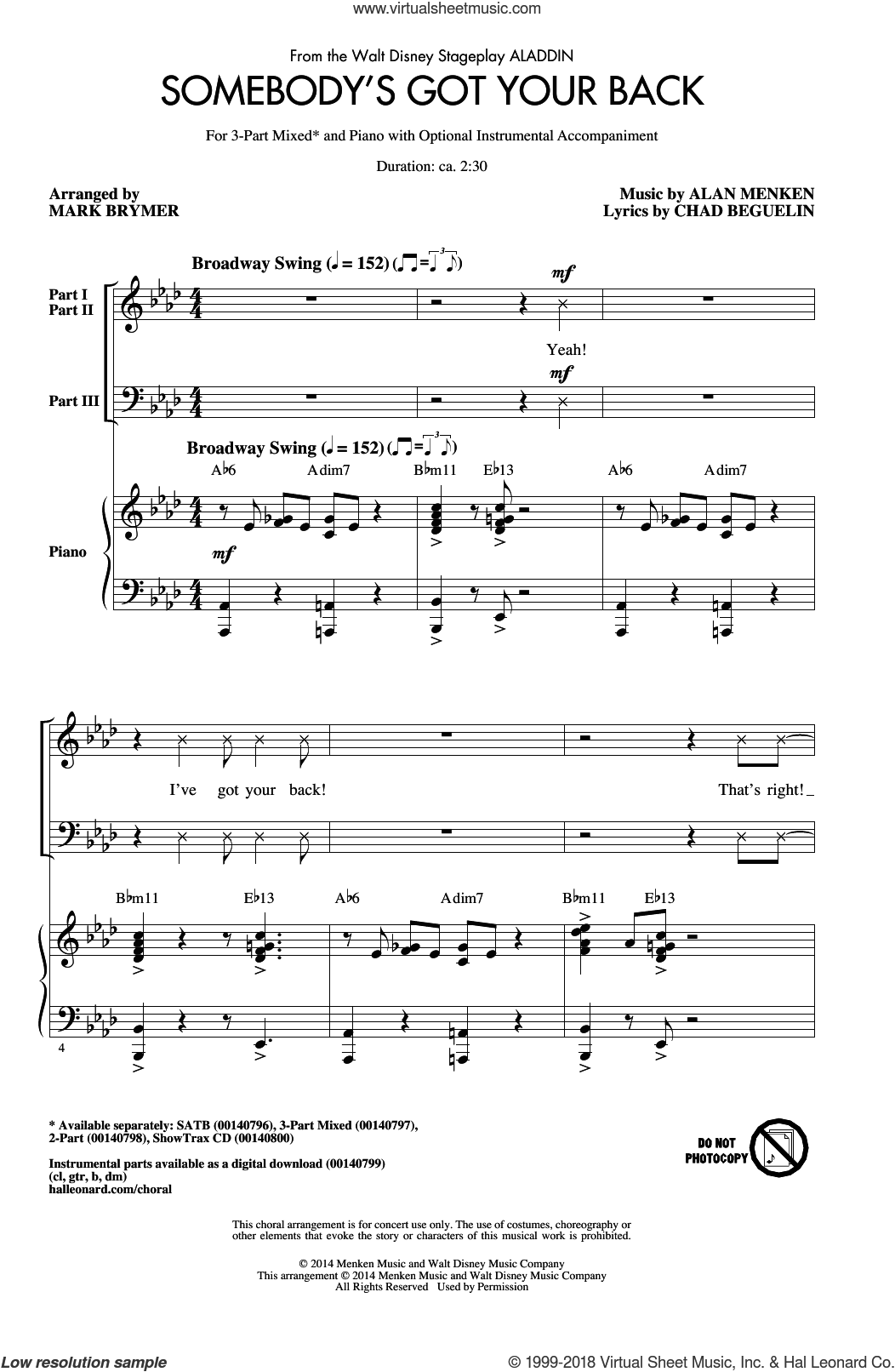 Somebody's Got Your Back sheet music for choir (3-Part Mixed) by Alan Menken, Mark Brymer and Chad Beguelin, intermediate